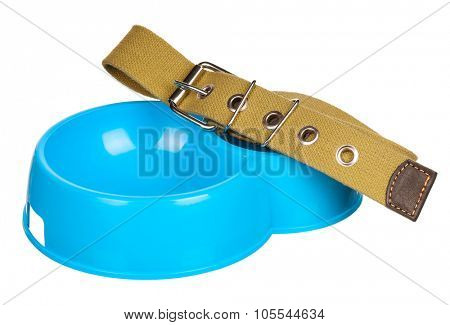 Bowl of dog food and dog collar isolated on a white background
