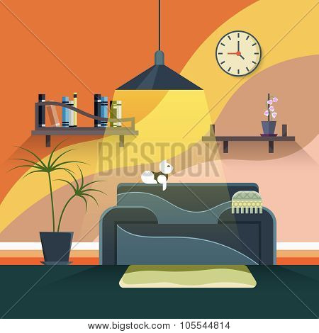 Interior of modern living room in flat design style