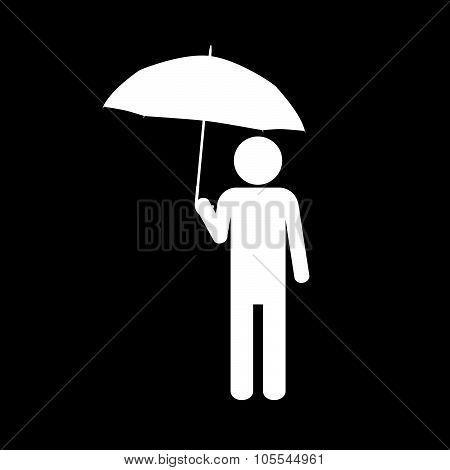 Man With Umbrella Icon Vector