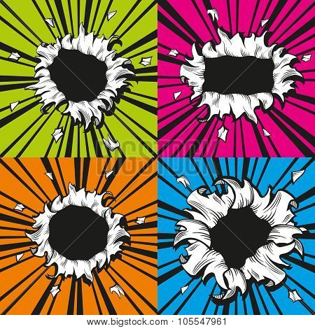 Vector holes set in comic book style