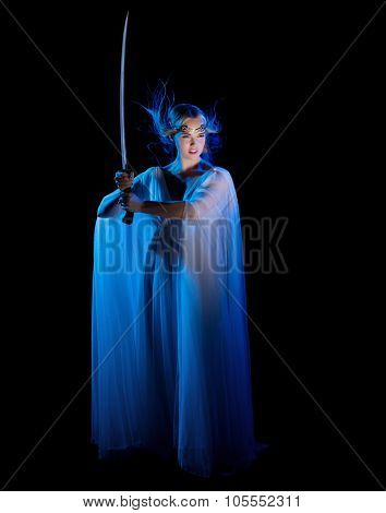 Young elven girl with sword isolated on black