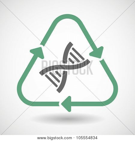 Line Art Recycle Sign Icon With A Dna Sign