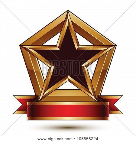 Golden Vector Stylized Symbol With Black Star And Glamorous Wavy Band, Clear Eps 8 Insignia, Isolate