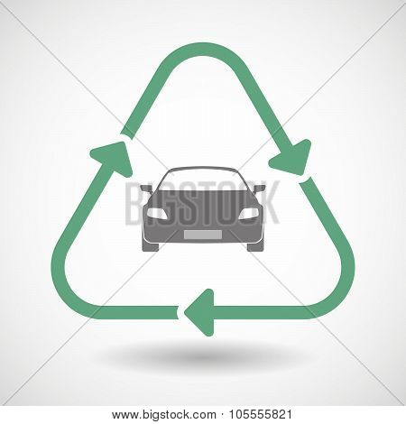 Line Art Recycle Sign Icon With A Car