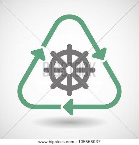 Line Art Recycle Sign Icon With A Dharma Chakra Sign