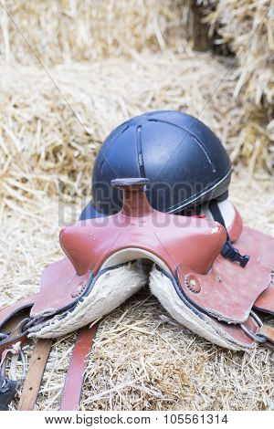 Horse Saddle And Helmet