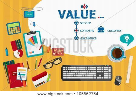 Value And Flat Design Illustration Concepts For Business Analysis