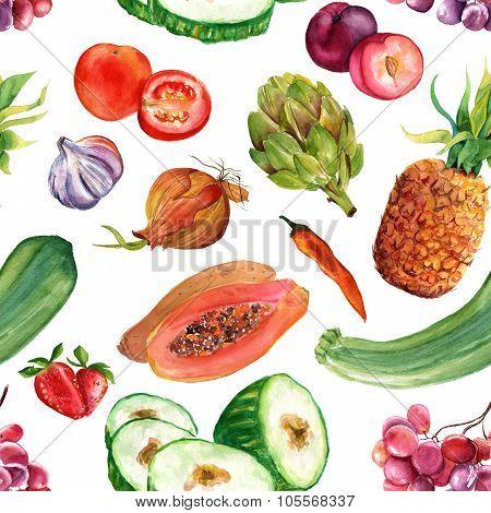 Seamless Watercolor Vegetarian Food Background Pattern