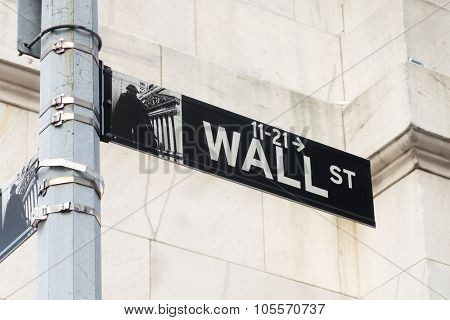 NEW YORK,USA - AUGUST 14,2015 : Street sign at Wall Street in Manhattan Financial District in New York City