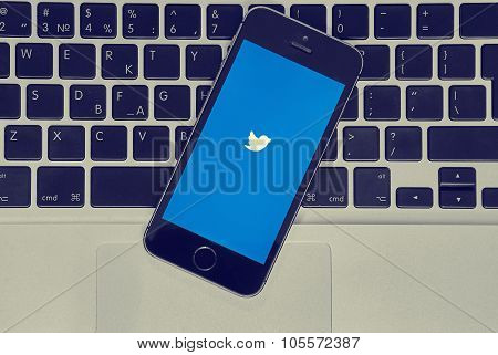 Iphone With Twitter App On Macbook Air