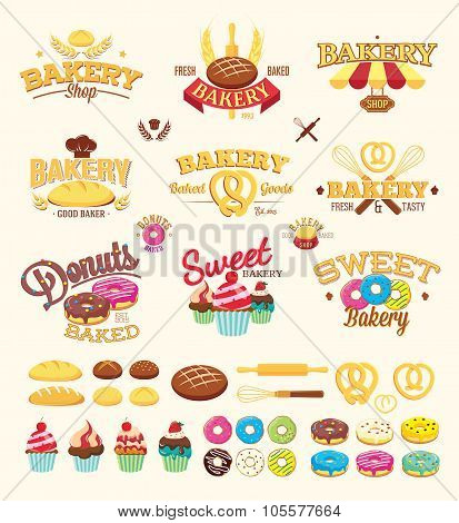 Bakery Labels, Logo And Design Elements