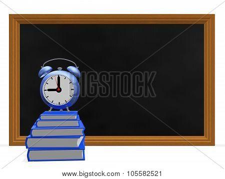 Black Board Books And Alarm Clock