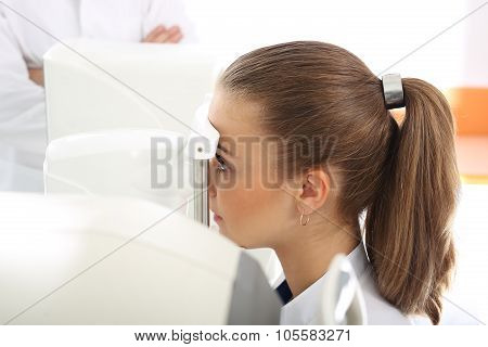 Woman in ophthalmologist.