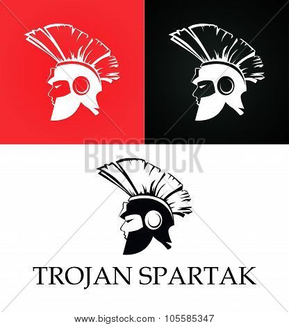 Roman trojan spartan warrior Set of Flat Illustration poster
