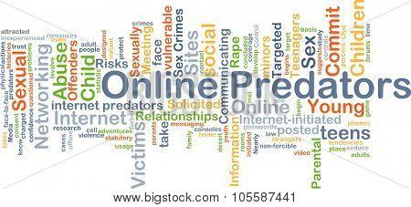 Background concept wordcloud illustration of online predators