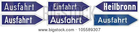 Highway Exit And Entry Signs In Germany. poster