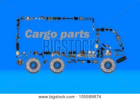 Images truck assembled from new spare parts. Cargo shop poster