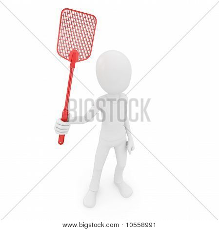 3D Man With Fly Swatter