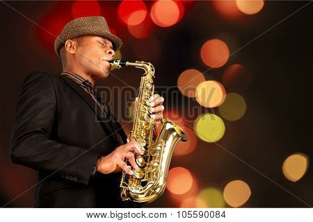 Jazz Musical Band Saxophone Outdoors Blues Saxophonist Popular Music Concert poster