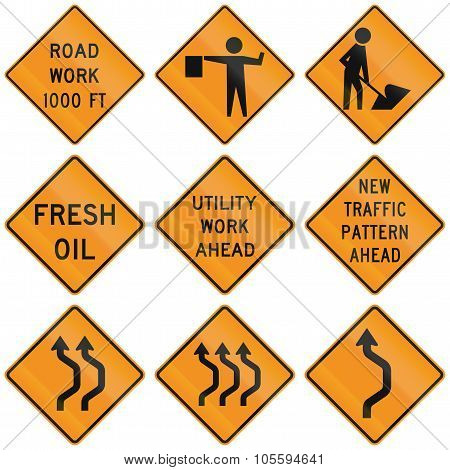 Collection Of Roadwork Warning Signs Used In The Usa