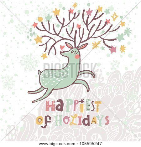 Happiest of holidays - lovely vector card with sweet deer in vector. Awesome reindeer with hearts and stars in horns under winter snowfall in cute cartoon style