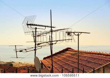 Many antennas and satelites on the roof, Portugal