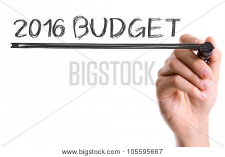 Hand with marker writing: 2016 Budget