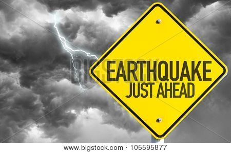 Earthquake sign with bad day on background