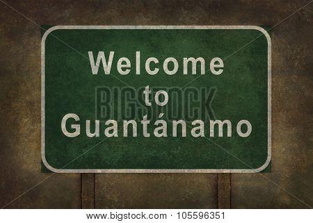 Welcome To Guantanamo Roadside Sign Illustration.