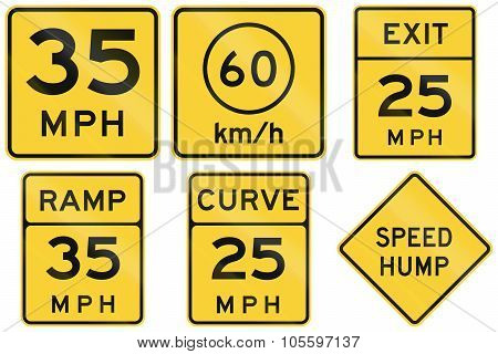 Collection Of Advisory Speed Signs Used In The Usa