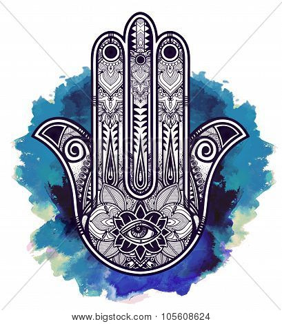 Ornate Hamsa Hand luck amulet.