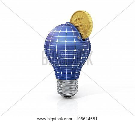 Concept Of Saving Money On Solar Energy. Green Energy. Moneybox In Form Of Bulb With Texture Solar B