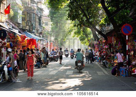 Hanoi town street in autumn morning