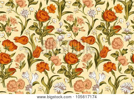 Light romantic seamless vector vintage floral pattern.