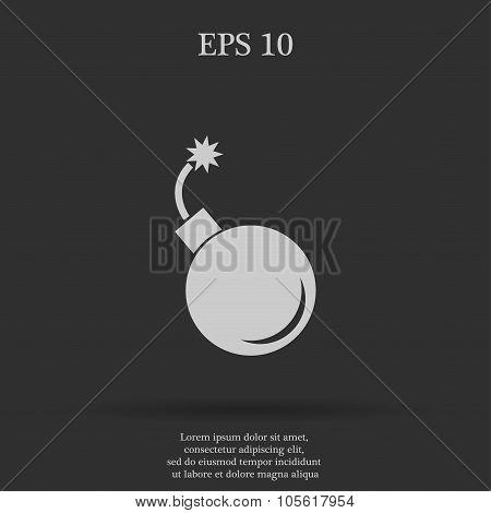 bomb icon. Flat design style eps 10 poster