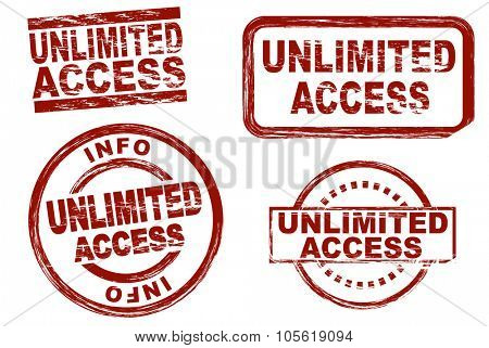 Set of stylized red stamps showing the term unlimited access. All on white background
