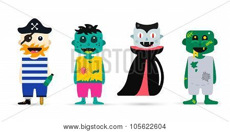Monster cartoon characters isolated silhouette