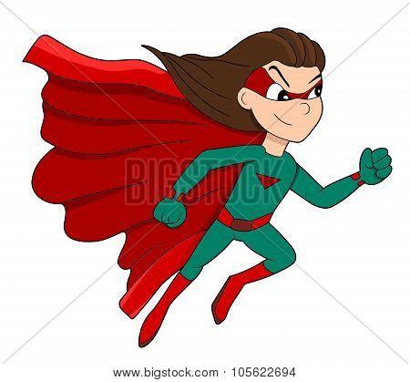 Running Superhero Girl Cartoon