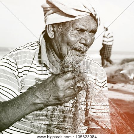 Indian Fisherman Kerela India Poverty Concept