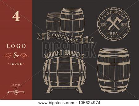 Vector Set And Logo Cooperage Workshops