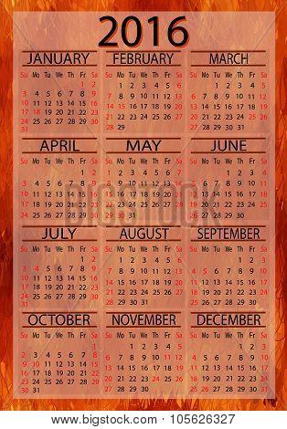 Calendar American 2016