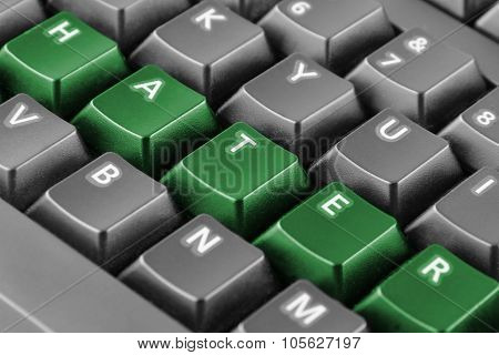Word Hater Written With Green Keyboard Buttons