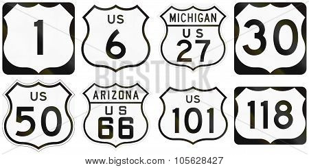 Collection Of Numbered Highway Road Signs Used In The Usa