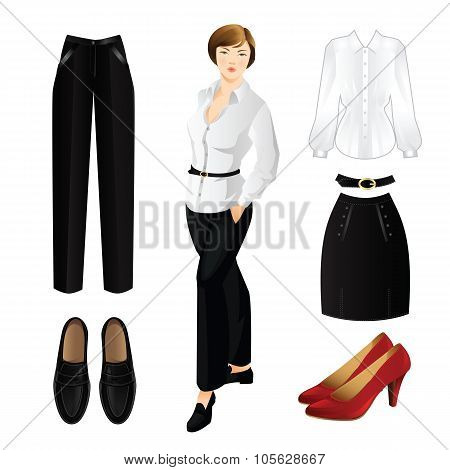 Set of clothes. Woman in white blouse