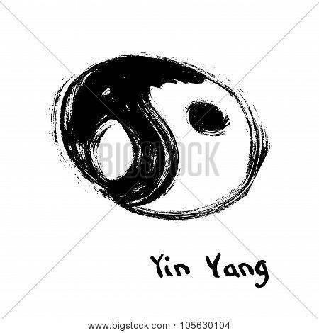Buddhist symbol of yin yang. Chinese calligraphy ink.