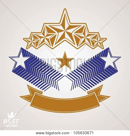 Vector Stylized Royal Symbol. Aristocratic Graphic Emblem With Five Pentagonal Stars And Wavy Band,