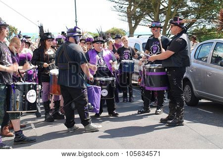 ST.LEONARDS-ON-SEA, ENGLAND - JULY 11, 2015: The Stix Drummers perform during the parade at the annual St.Leonards Festival in Warrior Square. The free entertainment event was first held in 2006.