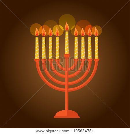Hanukkah menorah  greeting on brown background