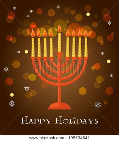 Hanukkah menorah greeting on brown background