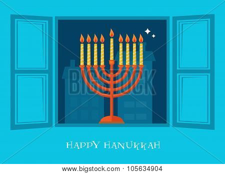 night city view of open window  with Hanukkah  menorah